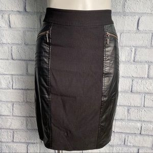 Guess Faux Leather and Knit Black Pencil Skirt 559